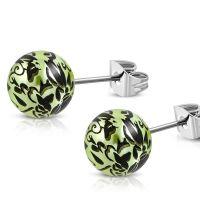 Ohrstecker Perle mit Blumendruck Silber aus Edelstahl Damen