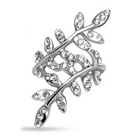 CC Klar - ear clip crystal leaves silver brass ladies