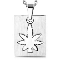 Dog Tag Marijuana Silver Stainless Steel Unisex