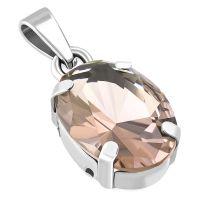 Anhänger Kristall oval Silber aus Edelstahl Damen...