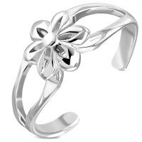 Zehenring Blume Silber aus Messing Damen