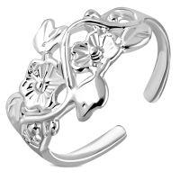 Zehenring Blütenranke aus Messing Silber Damen