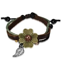 Bracelet in three parts with flower brown leather women