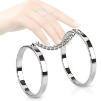 Toe ring chain with 2 rings silver brass unisex