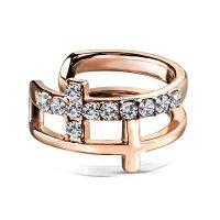 Ohrklemme Kristallkreuz aus Edelstahl Damen rosegold