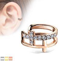 Ear clip crystal cross made of stainless steel ladies...