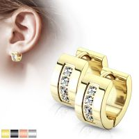 Kristall-Creolen breit 7mm aus Edelstahl Damen gold