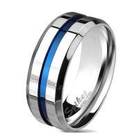 Ring mit blauem Streifen und abgeschrägten Kanten...