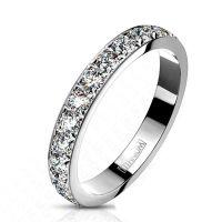 schmaler Titan-Ring Multikristall in silber aus Titanium