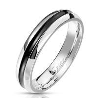Ring mit schwarzem Zierstreifen silber aus Edelstahl...