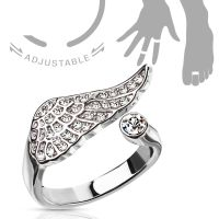 Toe ring angel wings silver brass unisex