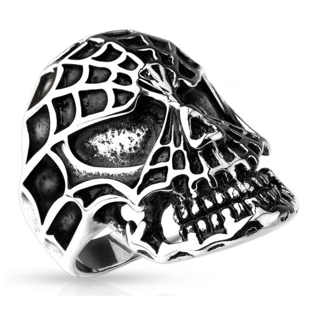 Ring skull spider web silver made of stainless steel men