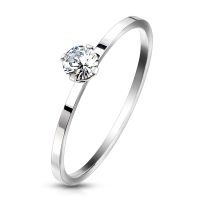 Ring with solitaire crystal silver made of stainless...