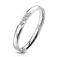 Ring narrow with 3 crystals silver made of stainless...