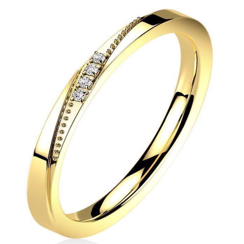 Goldener Ring schmal mit Kristallen und Zierleiste aus Edelstahl