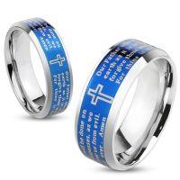 Ring Gebetstext und Kreuz Silber aus Edelstahl Herren