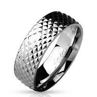 Ring Pyramidenoptik Silber aus Edelstahl Herren