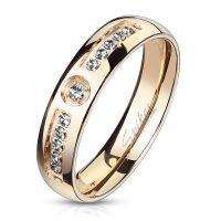 Ring mit 11 Kristallen rosegold aus Edelstahl Damen 57...