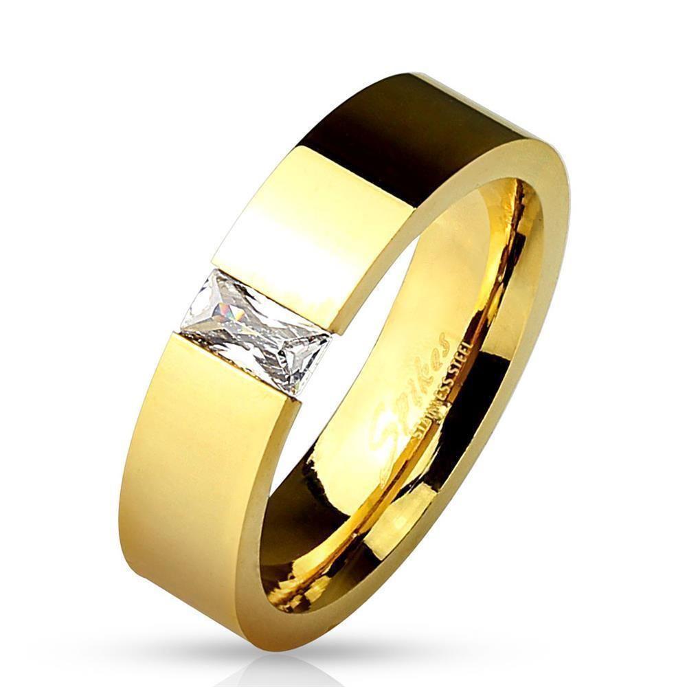 Rectangular crystal gold unisex stainless steel ring