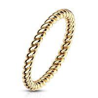Ring in gedrehter Optik aus Edelstahl Damen 57 (18.1) gold