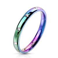 Ring mit 10 Kristallen schmal verschiedene Farben aus...