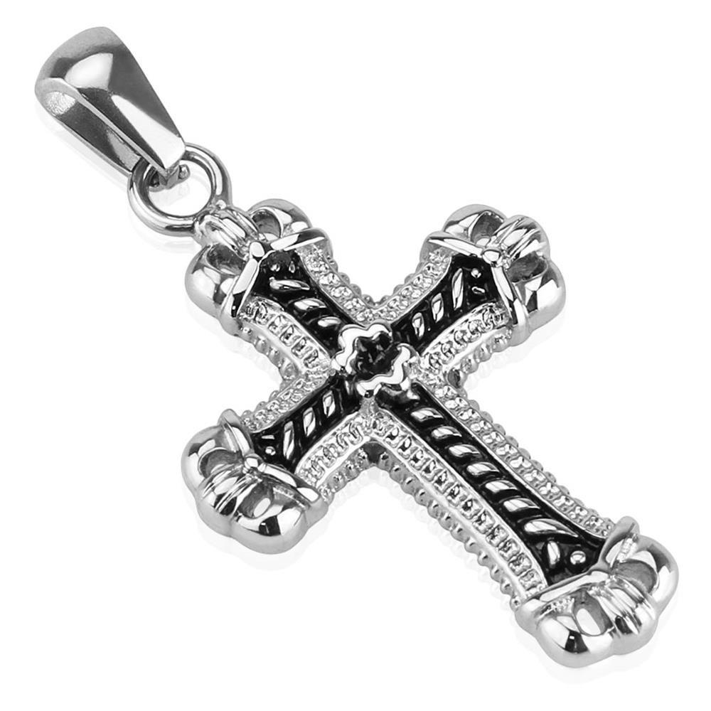 Pendant cross black silver made of stainless steel unisex