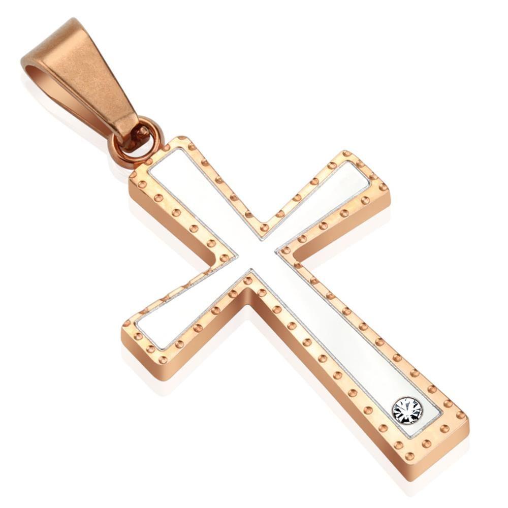 Anhänger Kreuz mit Zirkonia Rosegold aus Edelstahl Unisex