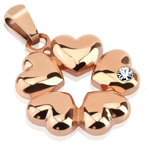 Pendant 5 hearts rose gold made of stainless steel unisex