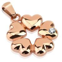 Anhänger 5 Herzen Rosegold aus Edelstahl Unisex