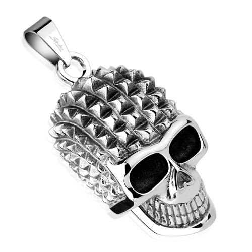 Pendant skull with spikes silver made of stainless steel unisex
