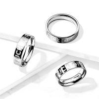57 (18.1) Ring FUCK OFF Silber aus Edelstahl Unisex