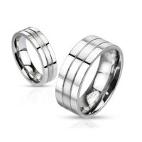 60 (19.1) Ring dreireihig Silber aus Edelstahl Unisex