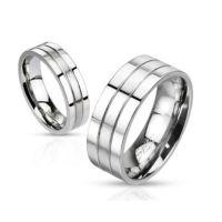 64 (20.4) Ring dreireihig Silber aus Edelstahl Unisex