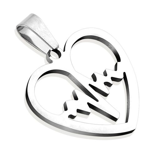Heartbeat silver pendant made of stainless steel unisex
