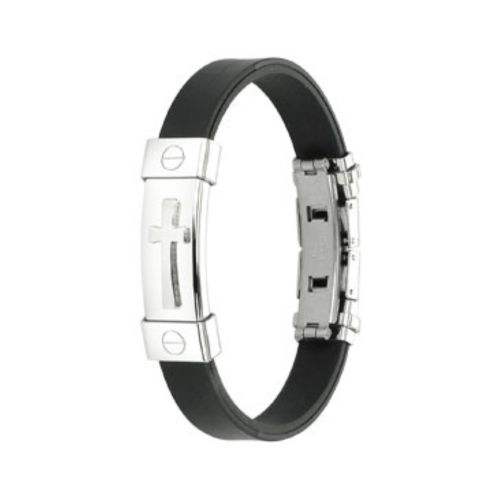 Bracelet with silver cross black made of stainless steel unisex