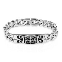 Bracelet with engraved silver Celtic cross made of...
