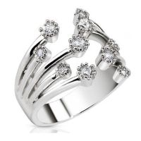 Toe ring crystal fountain silver brass unisex