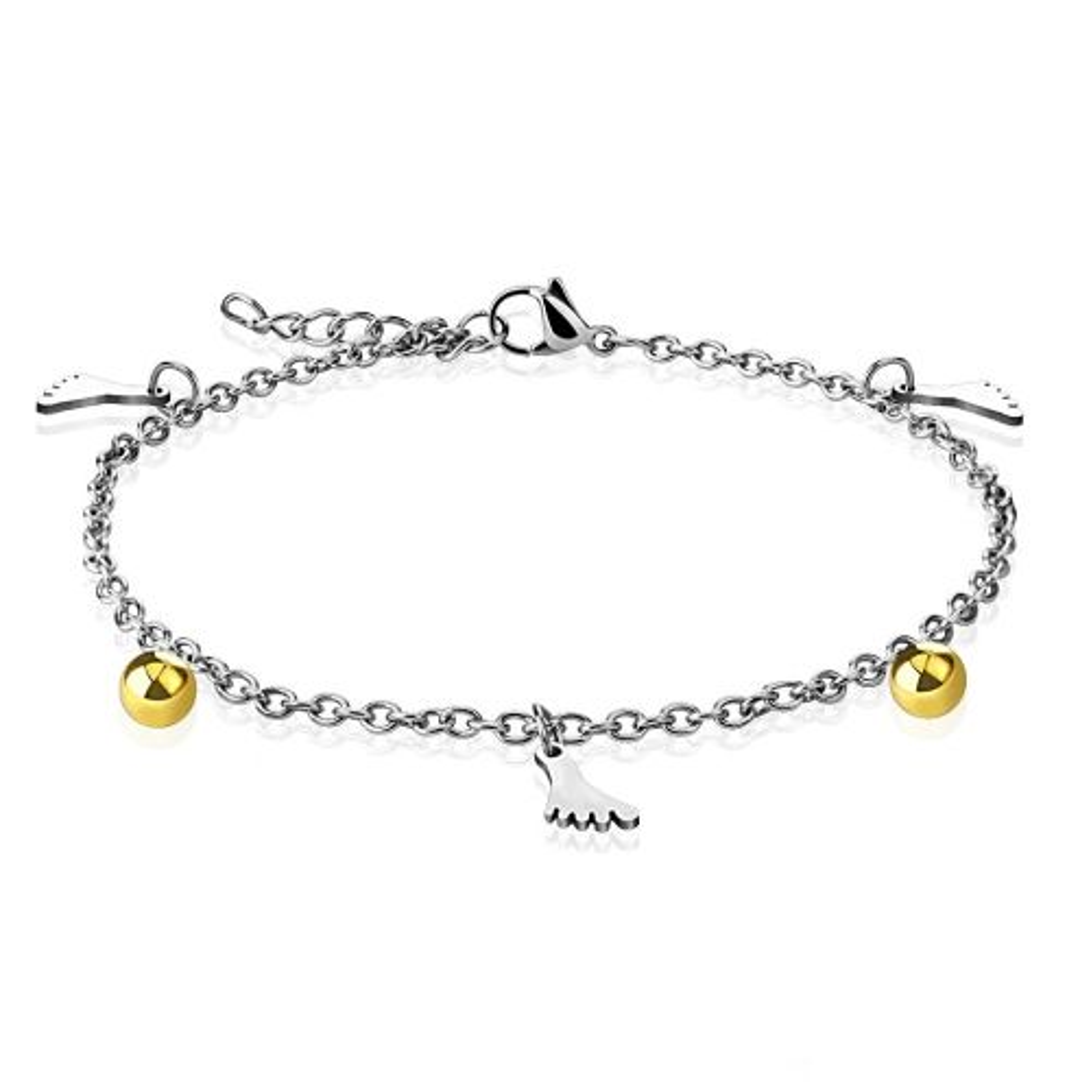 Bettelarmband Füße & Kugel Gold aus Edelstahl Damen