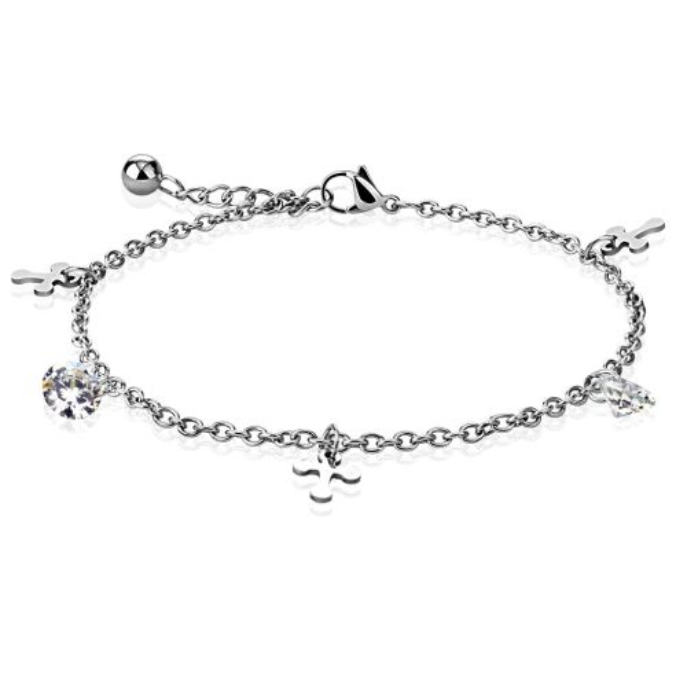 Bettelarmband Kreuz & Kristall Silber aus Edelstahl Damen