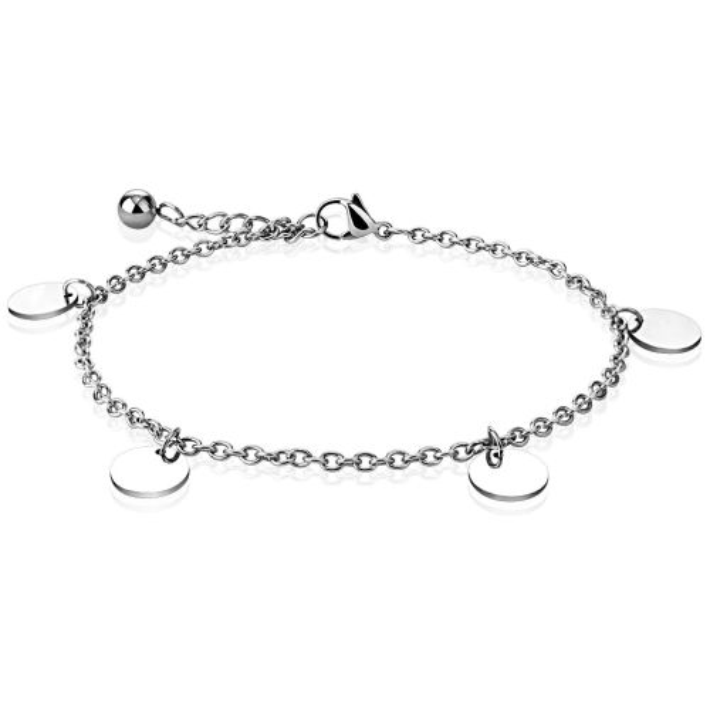 Bettelarmband mit runden Plättchen Silber aus Edelstahl Damen