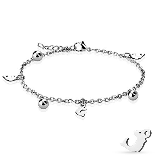 Charm bracelet dolphin silver made of stainless steel women