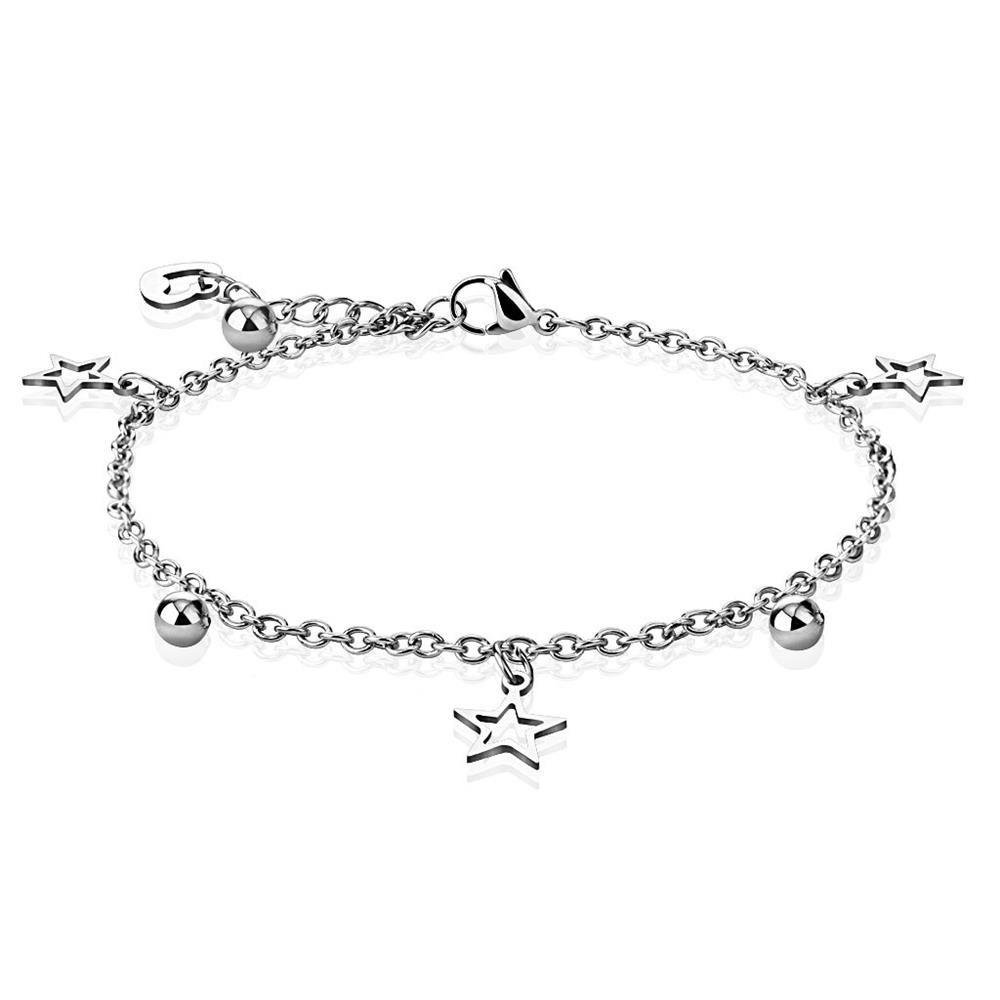 Bettelarmband Stern, Herz & Kugel Silber aus Edelstahl Unisex