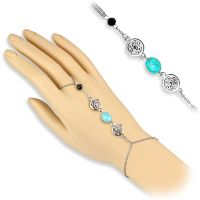 Hand chain turquoise stone & bead silver brass ladies