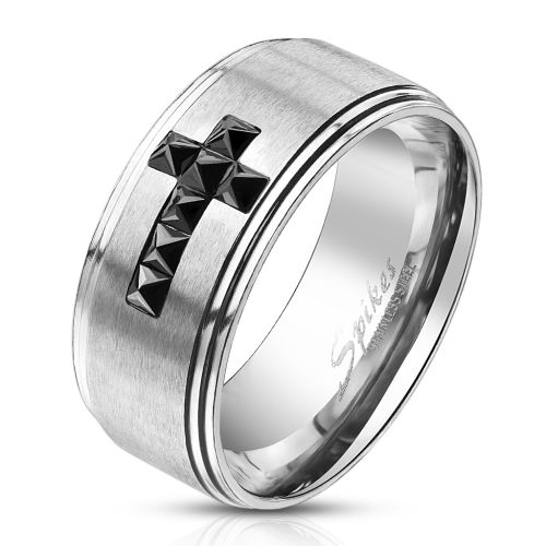 62 (19.7) ring blue cross on silver ring for men stainless steel (men finger ring men ring stainless steel ring surgical steel blue silver)
