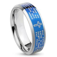 64 (20.4) ring silver with black cross for men (men finger ring men ring stainless steel ring surgical steel black)