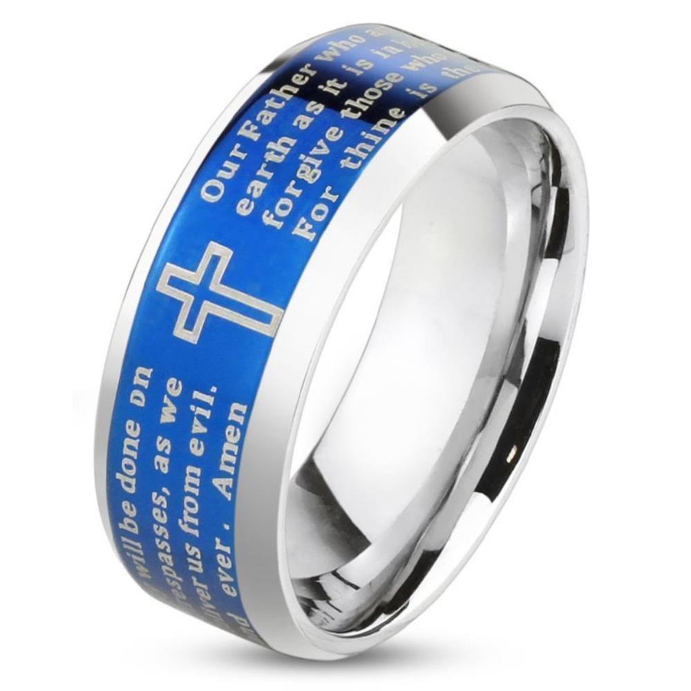 67 (21.3) Ring Gebetstext und Kreuz Silber aus Edelstahl Herren