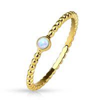 52 (16.6) Damenring mit Opal Kristall Stein gold (Ring...