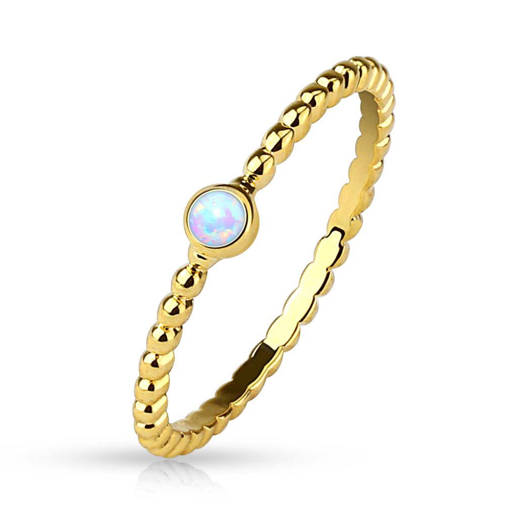 54 (17.2) Damenring mit Opal Kristall Stein gold (Ring Damen Fingerring Partnerringe Verlobungsringe Trauringe Damenring Brass 14Kt)