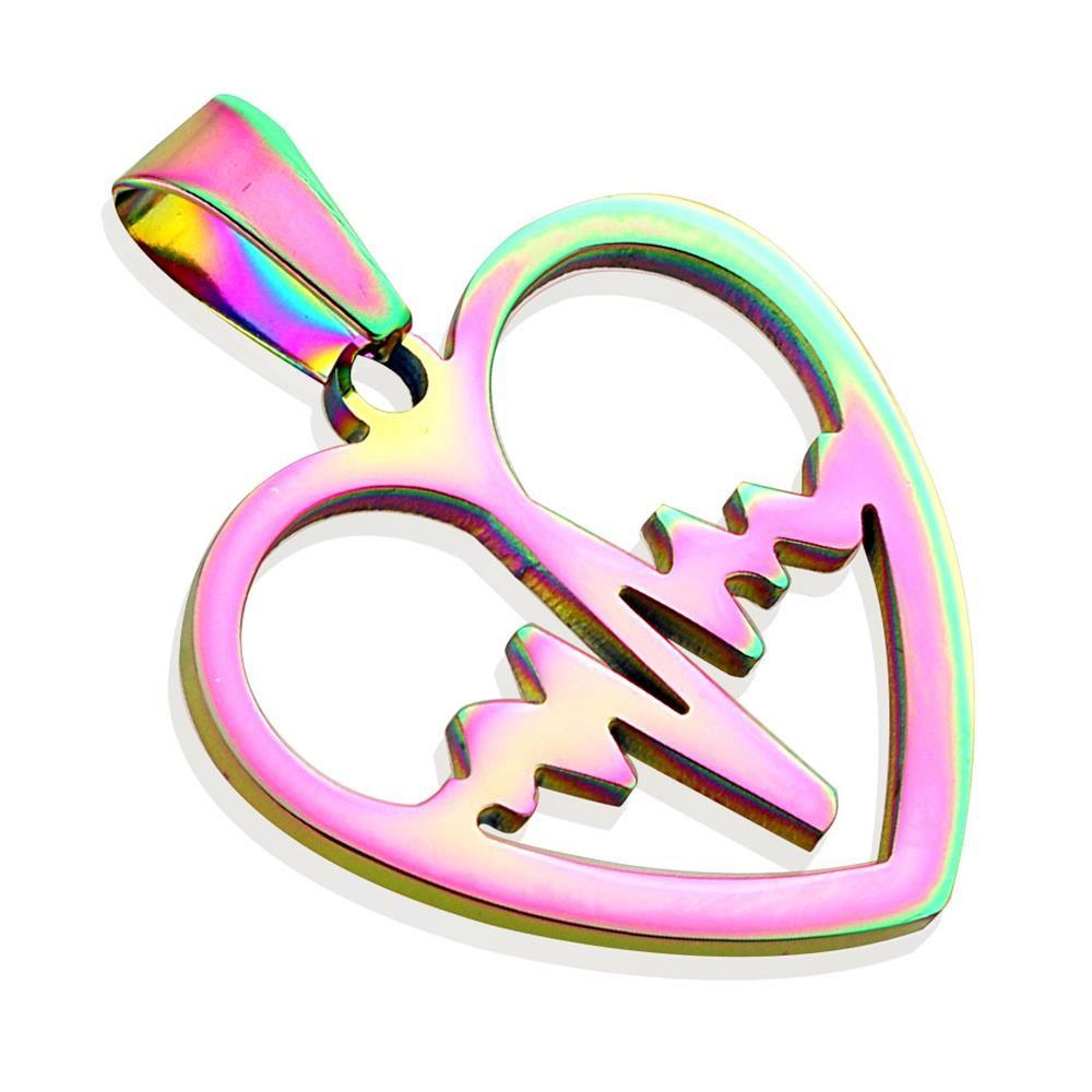 Rainbow pendant heartbeat made of stainless steel unisex