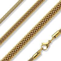 Gold - Kette gewebt aus Edelstahl Unisex